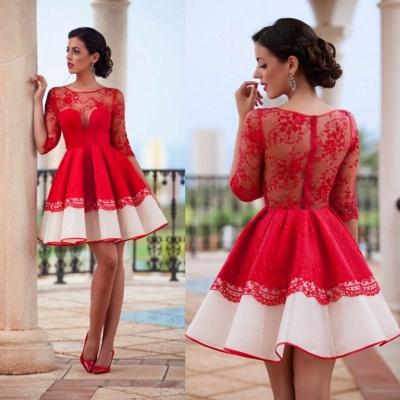 Elegant Red Illusion Mini Homecoming Dress UK Half Sleeve Zipper BA3268_3