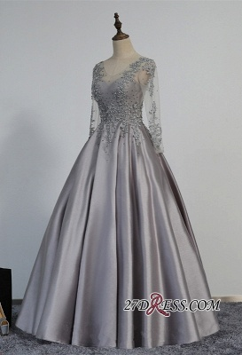 Modest Lace-Appliques Long-Sleeve Beading A-line Prom Dress UK_3