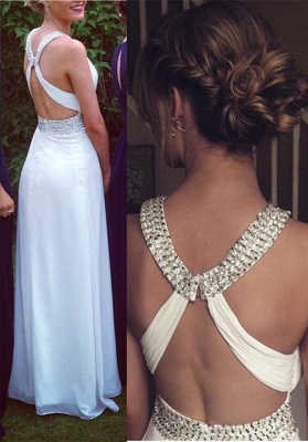 Elegant Cross Back White Long Chiffon Prom Dress UK With Beadings_1
