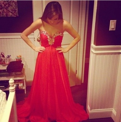Elegant Red Sweetheart Prom Dress UK Chiffon Long A-line Evening Party Gowns_2