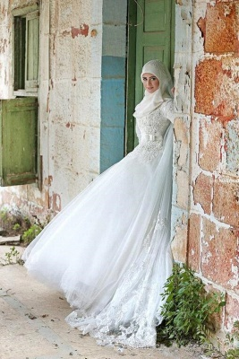 Gorgeous Long Sleeve Wedding Dress Tulle Lace Appliques Belt_5