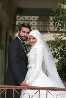 Gorgeous Long Sleeve Wedding Dress Tulle Lace Appliques Belt_6