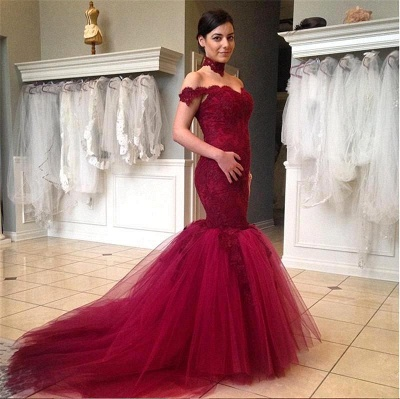 High Neck Tulle Sexy Mermaid Wedding Dress Lace Appliques Sweep Train_1