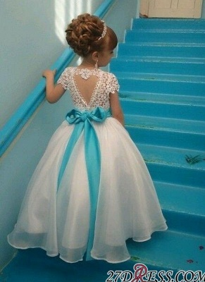 Crystals Lace Flower Sash Short-Sleeves Puffy Girl Dresses