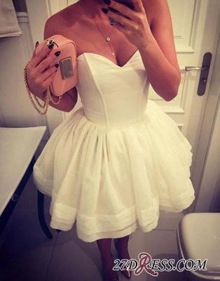 A-line White Sweetheart-neck Cute Short Homecoming Dress UK_3