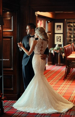 Gorgeous Lace Sexy Mermaid Wedding Dresses UK Beadss Sweep Train Bridal Gowns with Bottons_4