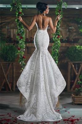 V-Neck Sexy Mermaid Wedding Dresses UK Long Unique Lace Ope Back Tulle Straps Bridal Gowns_1