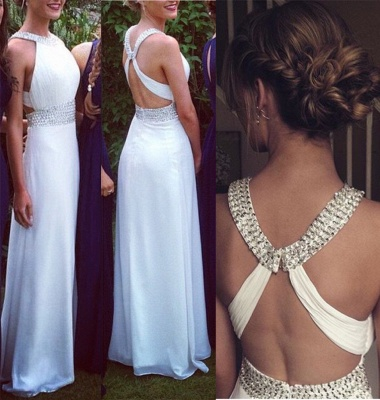 Elegant Cross Back White Long Chiffon Prom Dress UK With Beadings_2