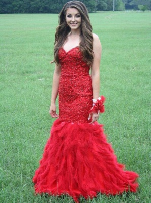 Elegant Red Mermaid Evening Dress UK 2-16 Sweetheart Beadings Fur Floor Length_3