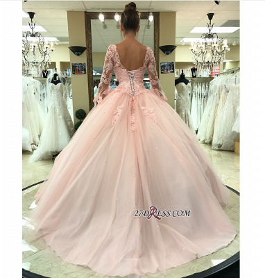 Long-Sleeve Pink Wedding Dress | Lace Ball-Gown Bridal Gowns_1