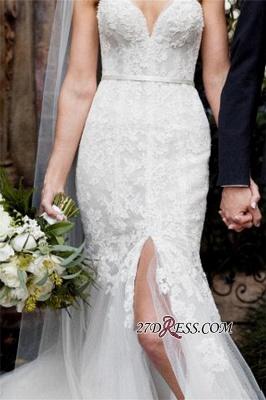 Lace Tulle Sheath Appliques Sweetheart Sleeveless Open-Back Front-Slit Wedding Dress_3