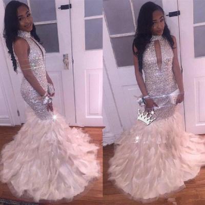 Luxury Mermaid High Neck Prom Dress UK | Crystals Prom Dress UK BK0 BA8256_3