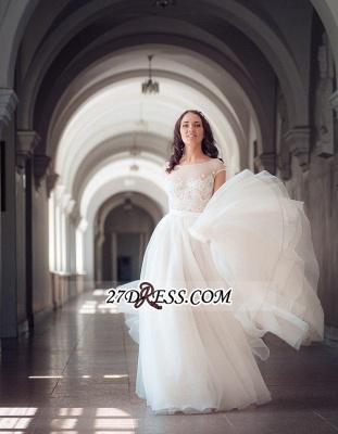 Long Lace Tulle Cap-Sleeve Split Elegant Wedding Dress_3