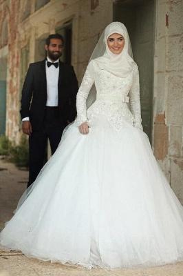 Gorgeous Long Sleeve Wedding Dress Tulle Lace Appliques Belt_1