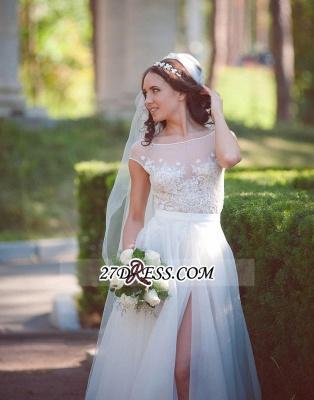 Long Lace Tulle Cap-Sleeve Split Elegant Wedding Dress_5