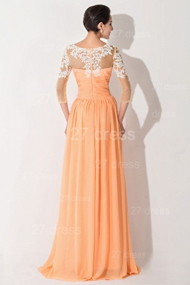 Sexy A-line Lace Chiffon Evening Dress UK 3/4-Length Sleeve_3