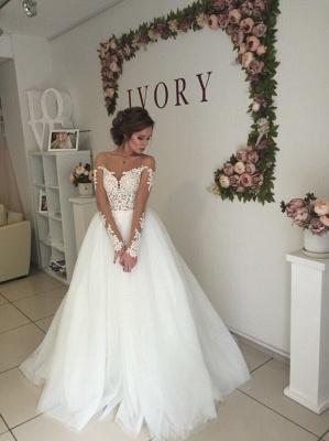 Elegant A-line Long Sleeves Wedding Dresss Applique Tulle Cheap_3