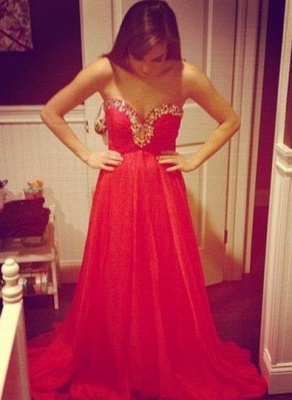 Elegant Red Sweetheart Prom Dress UK Chiffon Long A-line Evening Party Gowns_1