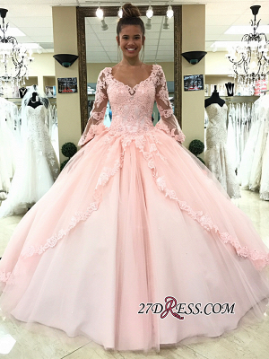 Long-Sleeve Pink Wedding Dress | Lace Ball-Gown Bridal Gowns_3