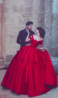 Newest Red Bowknot Ball Gown Evening Dress UK Off-the-shoulder Floor-length_1