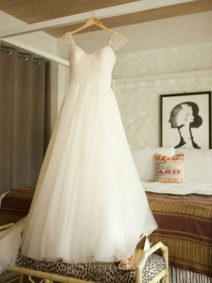 Chic A-Line Cap Sleeves Wedding Dresses UK Simple Tulle Sleeveless Bridal Gowns_1