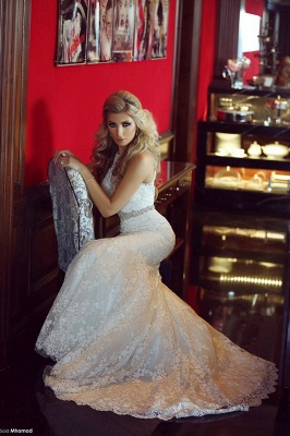 Gorgeous Lace Sexy Mermaid Wedding Dresses UK Beadss Sweep Train Bridal Gowns with Bottons_5