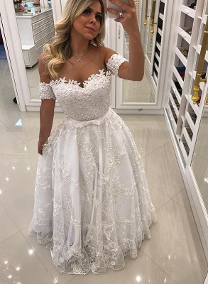 Modern White Beads Lace A-line Evening Dress UK | Off-the-shoulder Evening Gown_1