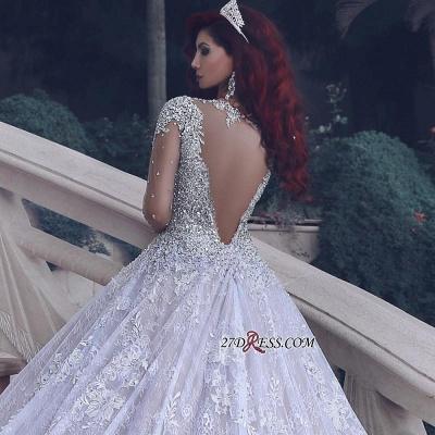Glamorous Muslim Lace Beads Sheer Cathedral-Train Crystal Vintage Wedding Dress BA6920_2