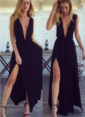 Elegant Black Long Chiffon Prom Dress UK V-Neck Party Gown_1