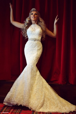 Gorgeous Lace Sexy Mermaid Wedding Dresses UK Beadss Sweep Train Bridal Gowns with Bottons_1