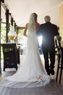 Lace Tulle Sheath Appliques Sweetheart Sleeveless Open-Back Front-Slit Wedding Dress_2