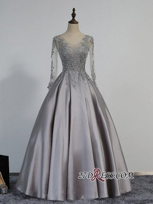 Modest Lace-Appliques Long-Sleeve Beading A-line Prom Dress UK_1