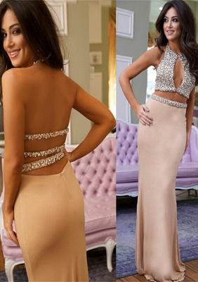 Luxury Crystals Mermaid Prom Dress UK Halter Two Piece_1