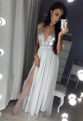 Sexy V-Neck Halter Prom Dress UK | Sequins Chiffon Evening Dress UK_3