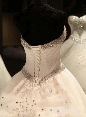 Glamorous Ball Gown Wedding Dresses UK Sweetheart Neck Crystals Lace-up Back Cathedral Train Bridal Gowns_6