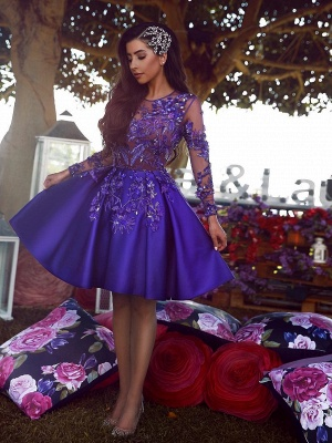 Sexy A-Line Scoop Homecoming Dress UKes UK | Long Sleeves Appliques Short Cocktail Dress UKes UK_1