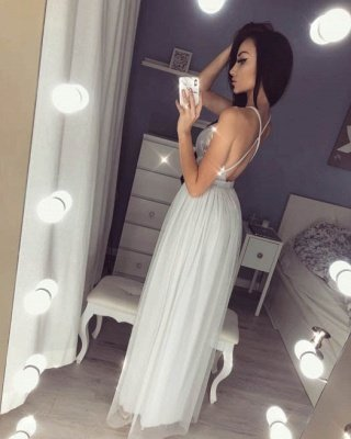 Sexy V-Neck Halter Prom Dress UK | Sequins Chiffon Evening Dress UK_5