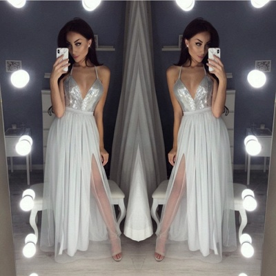 Sexy V-Neck Halter Prom Dress UK | Sequins Chiffon Evening Dress UK_4