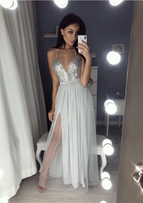 Sexy V-Neck Halter Prom Dress UK | Sequins Chiffon Evening Dress UK_1