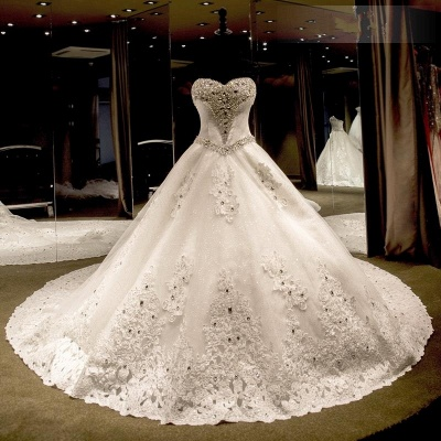 Glamorous Ball Gown Wedding Dresses UK Sweetheart Neck Crystals Lace-up Back Cathedral Train Bridal Gowns_3