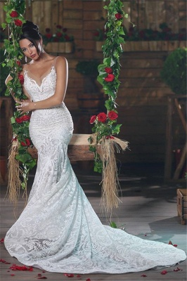 V-Neck Sexy Mermaid Wedding Dresses UK Long Unique Lace Ope Back Tulle Straps Bridal Gowns_3