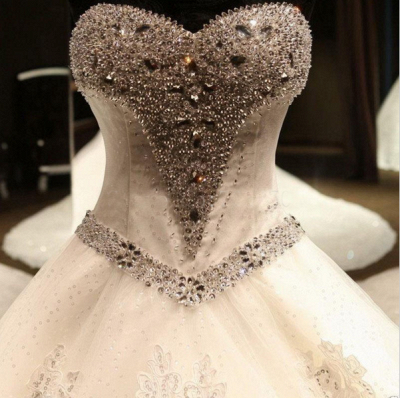 Glamorous Ball Gown Wedding Dresses UK Sweetheart Neck Crystals Lace-up Back Cathedral Train Bridal Gowns_4