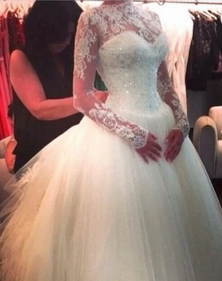 Elegant High Neck Long Sleeve Tulle Wedding Dress With Beadss Lace Appliques_2