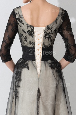Newest Lace Appliques Tulle Evening Dress UK Half Sleeve_5