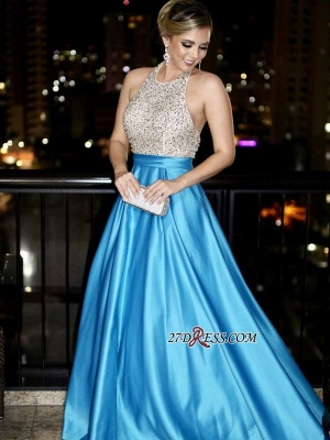 Blue backless prom Dress UK, long evening gowns with beads_3