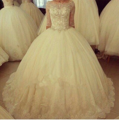Delicate Half Sleeve Tulle Lace Wedding Dress Ball Gown BA6908_2