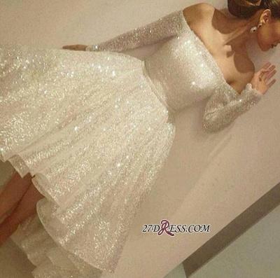 Bling Short Off-the-Shoulder Long-Sleeves Bling Tiers-Skirt Prom Dress UKes UK BA3706_1