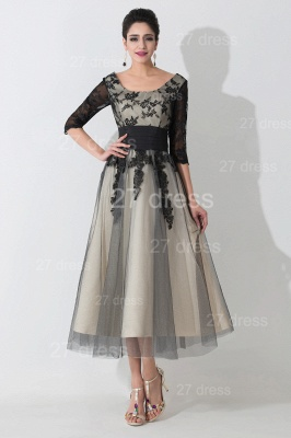 Newest Lace Appliques Tulle Evening Dress UK Half Sleeve_1