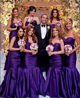 Modern Purple Sweetheart Mermaid Long Bridesmaid Dress UKes UK BA9011_1