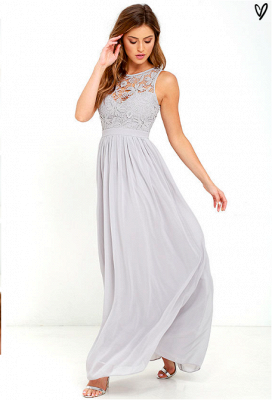 Sexy Long Chiffon Lace Prom Dress UK Floor Length_5